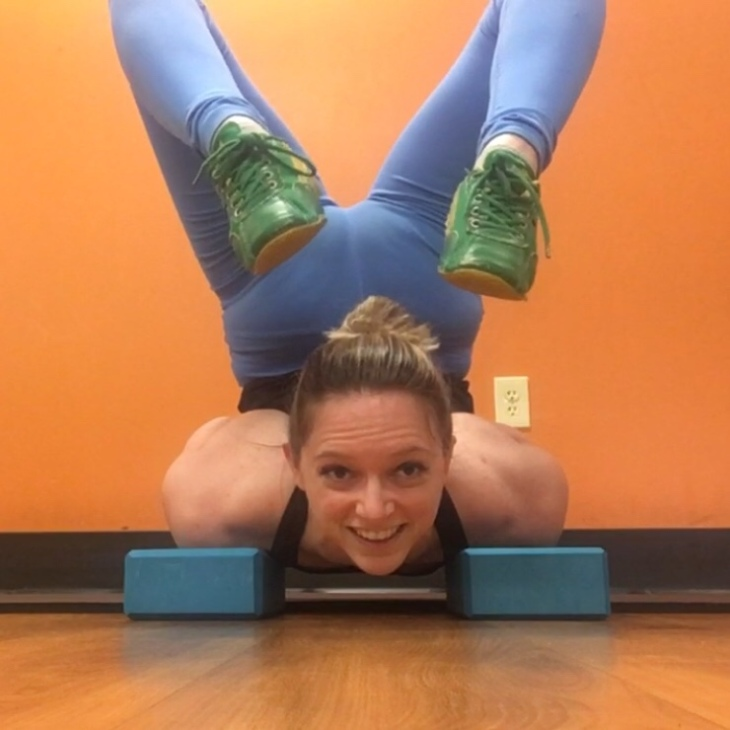 Chin stand on yoga blocks